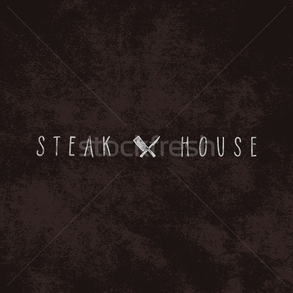 Steak House vintage Label. Typography letterpress design. White steak house insignia isolated Stock photo © JeksonGraphics