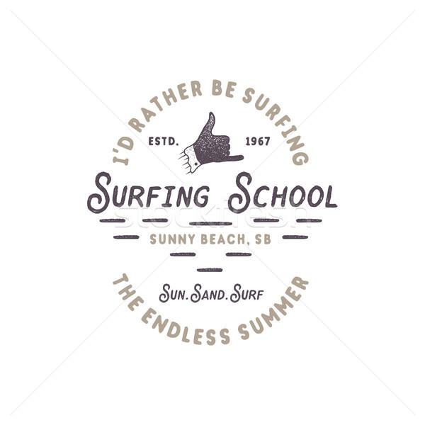 Surfen Schule Jahrgang Emblem Retro logo-Design Stock foto © JeksonGraphics