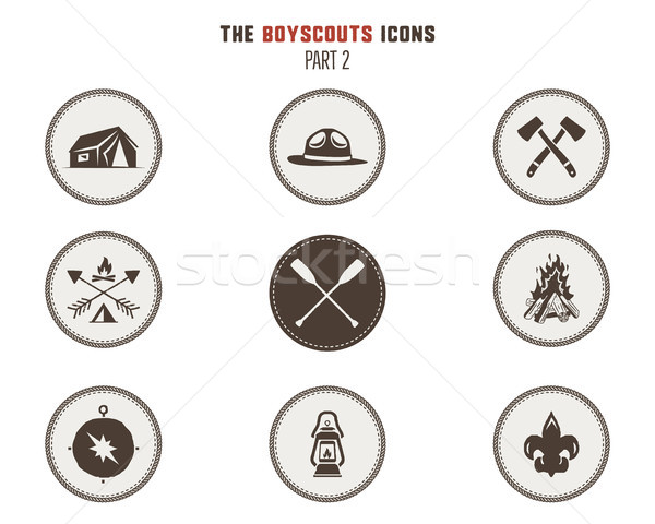 Stock photo: Boy scouts icons, patches. Camping stickers. Tent, axe, campfire, compass and others. Stock vector i