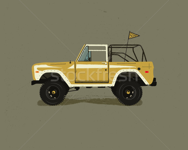 Vintage рисованной поиск автомобилей ретро транспорт Сток-фото © JeksonGraphics