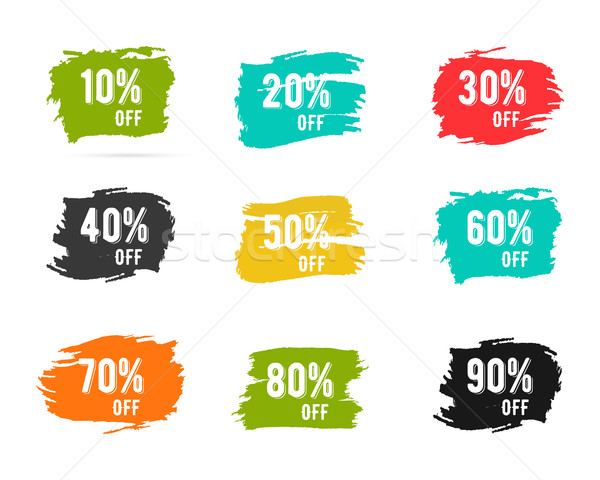 Christmas sale percents, new year, black friday, cyber monday or winter autumn discount price tags.  Stock photo © JeksonGraphics