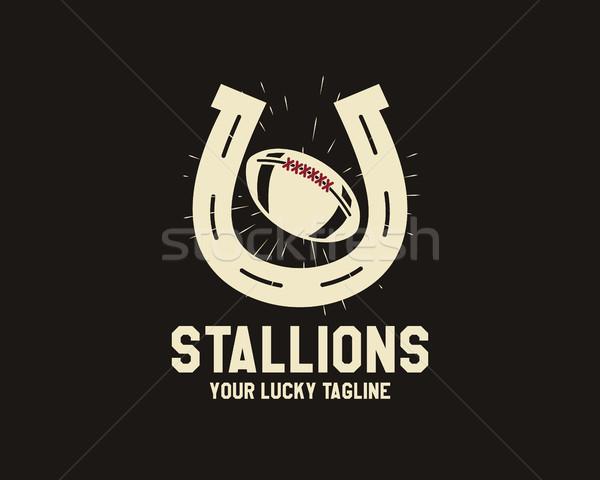 Vektor amerikai futball szerencsés patkó címke Stock fotó © JeksonGraphics