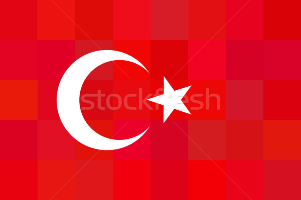 Turkey flag on unusual red squares background. Foursquare design. Original proportions and high qual Stock photo © JeksonGraphics