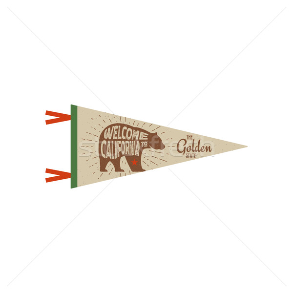 Adventure vector pennant. California USA Pennant. Explorer flag design. Vintage template. Travel sty Stock photo © JeksonGraphics