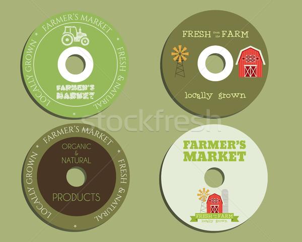 Organisch boerderij cd sjablonen teken icon Stockfoto © JeksonGraphics