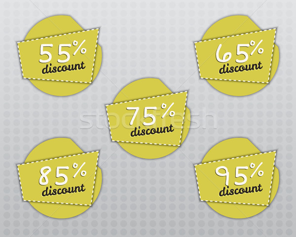 Sale stickers and labels with Sale up to 55 - 95 percent text on yellow circle stickers and labels.  Stock photo © JeksonGraphics