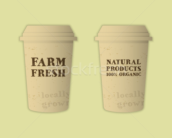 Stylish Farm Fresh paper cups template. Mock up design with shadow. Vintage colors. Best for natural Stock photo © JeksonGraphics