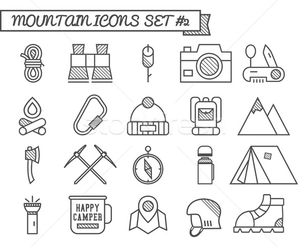 Set of Camp, travel icons, thin line style, flat design. Mountain climbing theme with touristic tent Stock photo © JeksonGraphics