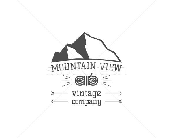 Vintage montagna view climbing escursioni camping Foto d'archivio © JeksonGraphics