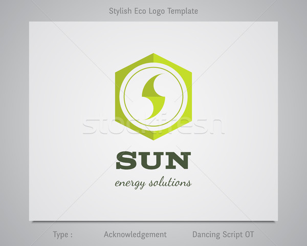 Sun - energy solutions logo template for eco corporation, company, firm or other bio, ecology busine Stock photo © JeksonGraphics