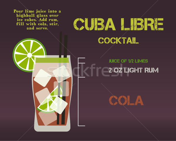 Cuba Libre cocktail recipe and preparation description concept. Modern design. Isolated on stylish b Stock photo © JeksonGraphics