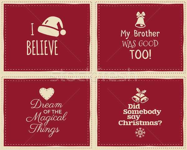 Set of Christmas funny signs, quotes backgrounds designs for kids - i believe in santa claus. Nice r Stock photo © JeksonGraphics