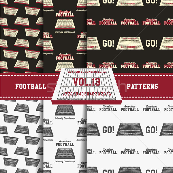 Stock photo: Set of american football patterns. Usa sports seamless background collection. Sport wallpaper with f