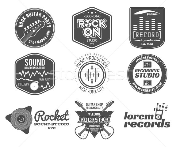 Set of vector music production logo, label, sticker, emblem, print or logotype with elements - guita Stock photo © JeksonGraphics