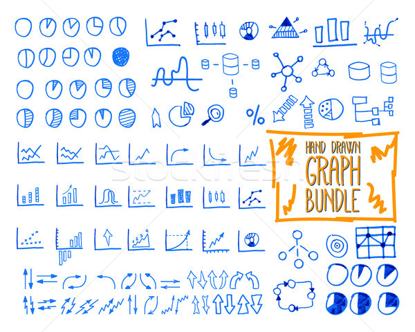 Set of outline doodle, sketched, hand drawn business management infographics elements, icons, arrows Stock photo © JeksonGraphics