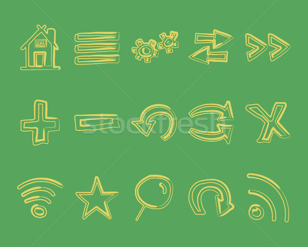Kézzel rajzolt webes ikonok logo nyilak internet böngésző Stock fotó © JeksonGraphics