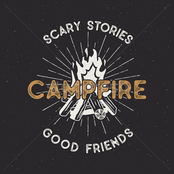 Camping t shirt design. Hand drawn vintage label with texts, textured campfire and sunbursts. Letter Stock photo © JeksonGraphics