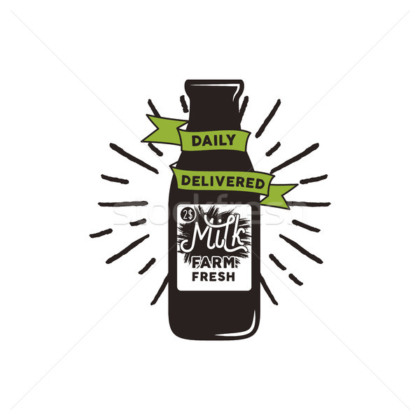 Farm fresh milk bottle with green ribbon, sunbursts and text - daily delivered. eco concept. Isolate Stock photo © JeksonGraphics