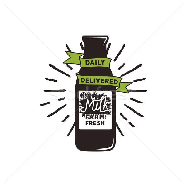 Boerderij verse melk fles groene lint tekst Stockfoto © JeksonGraphics