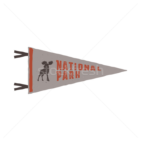 Vintage hand drawn pennant template. Camping sign. Retro textured, letterpress effect. Outdoor adven Stock photo © JeksonGraphics