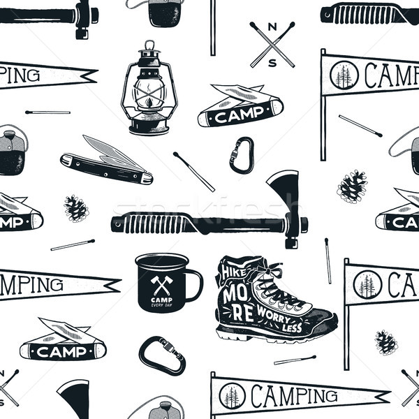 Vintage Hand drawn seamless pattern with camping equipment, gear. Axes, camp lantern, mug, knife and Stock photo © JeksonGraphics