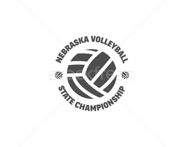 fb885dff2 Voleibol etiqueta distintivo logotipo ícone esportes Foto stock ©  JeksonGraphics