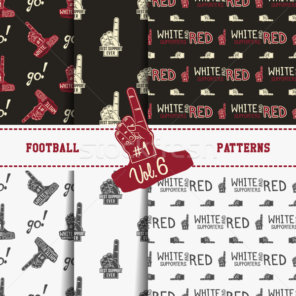 Stock photo: Set of american football patterns. Usa sports seamless background collection. Sport wallpaper with s