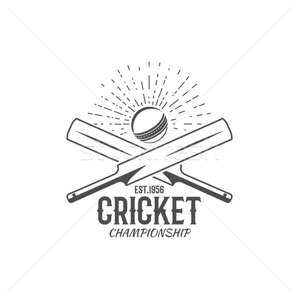 Cricket emblem and design elements. championship logo . stamp. Sports fun symbols with equipment - b Stock photo © JeksonGraphics