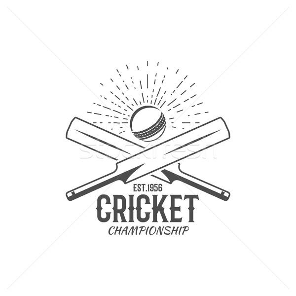 Cricket embleem ontwerp communie kampioenschap logo Stockfoto © JeksonGraphics