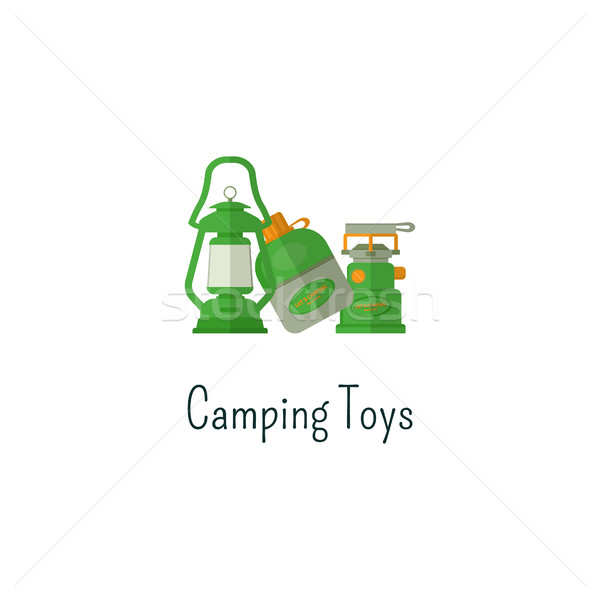 Camping toys flat icon. Toys isolated color pictogram. Toys for outdoors fun children. Adventure toy Stock photo © JeksonGraphics