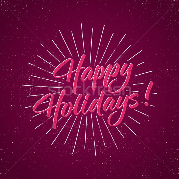 Stock fotó: Boldog · ünnepek · szöveg · ünnep · tipográfia · levelek