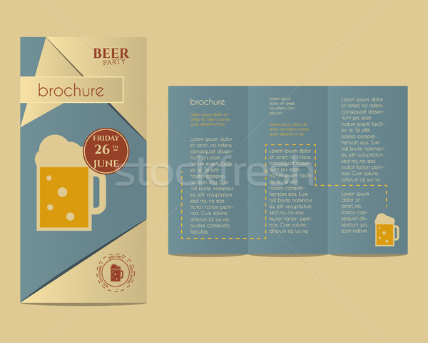 Beer party flyer invitation template with glass of beer and infographic elements. Vintage design for Stock photo © JeksonGraphics