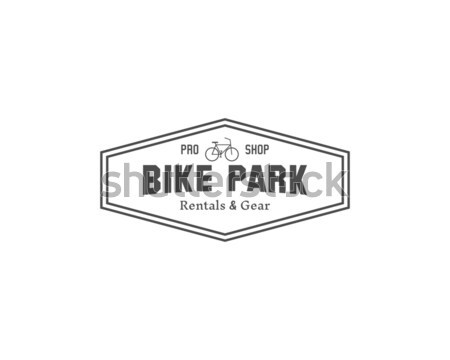 Vintage mountain bike shop parco camping badge Foto d'archivio © JeksonGraphics