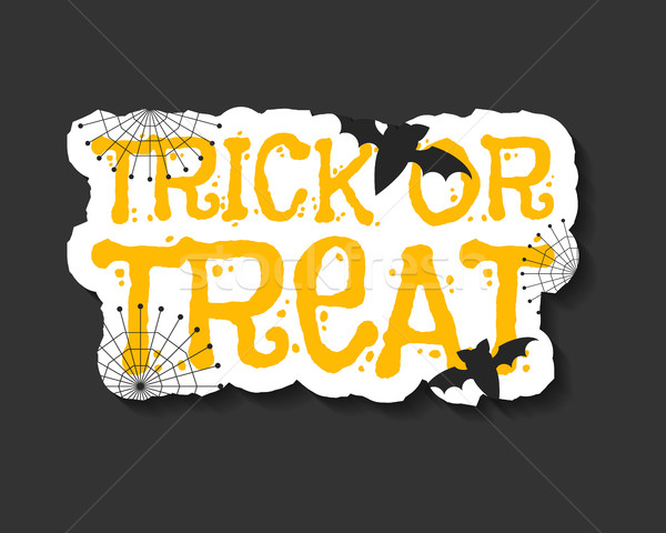 Happy Halloween trick and treat flyer template - orange and white colors with text, bats, web on dar Stock photo © JeksonGraphics