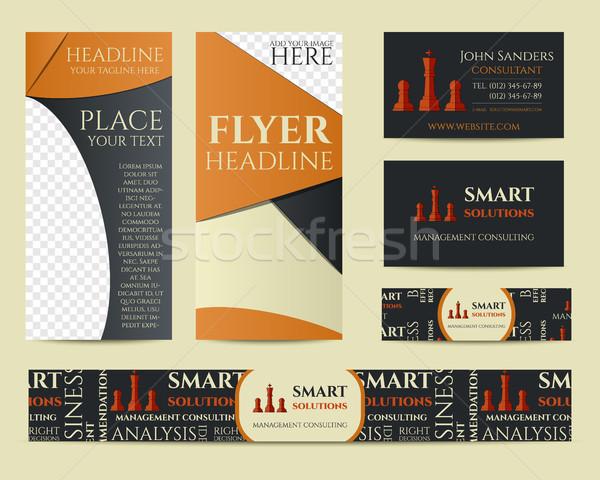 Smart solutions business branding identity set. Flyer, brochure, business card. Best for management  Stock photo © JeksonGraphics