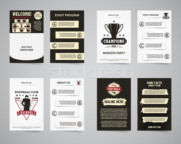 American football party flyer templates design collection. Usa Sport brand identity letterhead. Even Stock photo © JeksonGraphics
