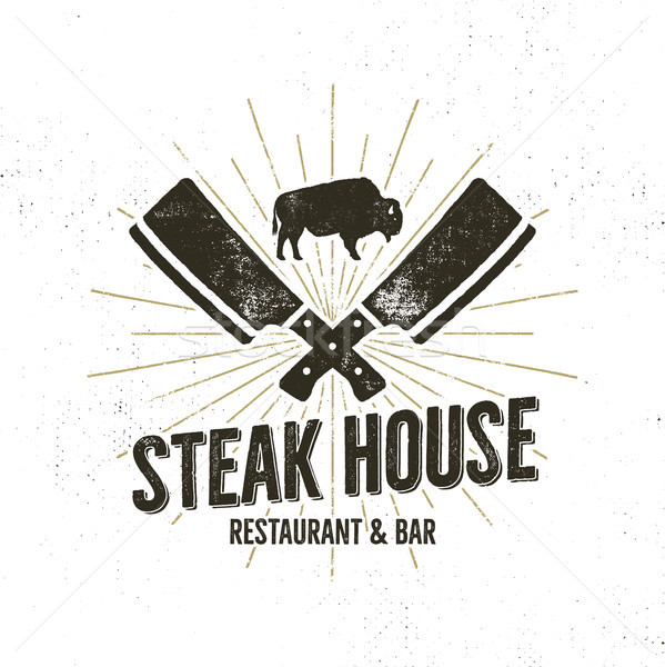 Steak House vintage Label. Typography letterpress design. Vector   retro logo. Included bbq grill sy Stock photo © JeksonGraphics