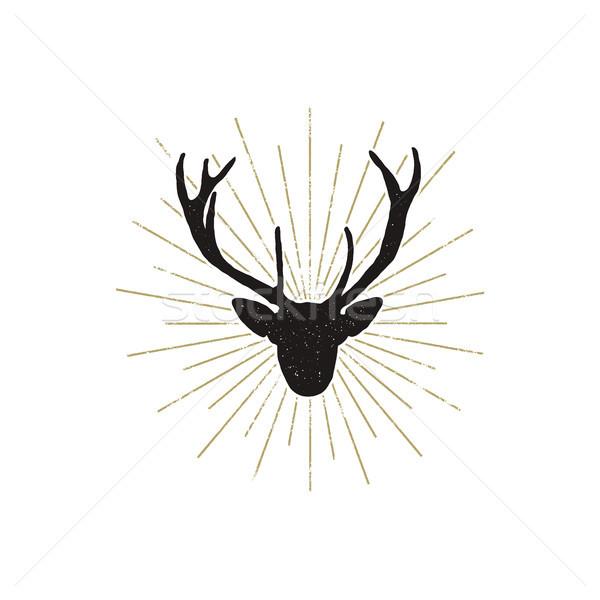 Deer shape with sunbursts. Silhouette animal design. Black wild animal isolated on white background. Stock photo © JeksonGraphics