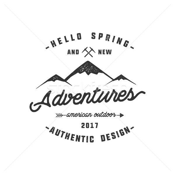 Vintage adventure Hand drawn label design. Hello spring and new adventures sign and outdoor activity Stock photo © JeksonGraphics
