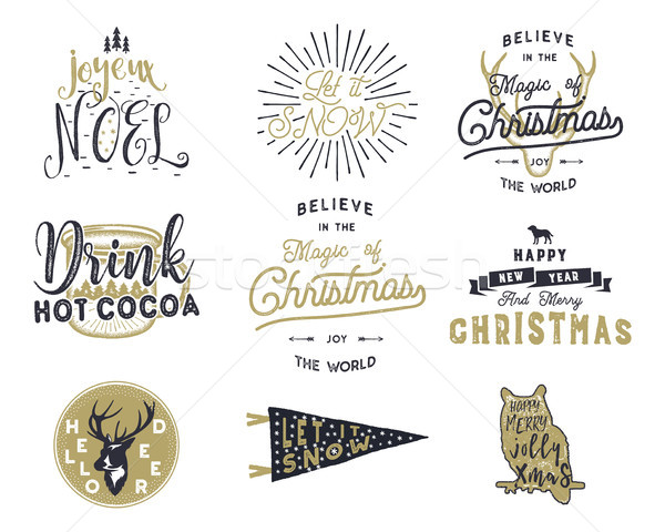 Big Merry Christmas typography quotes, wishes bundle. Sunbursts, ribbon and xmas noel elements, icon Stock photo © JeksonGraphics