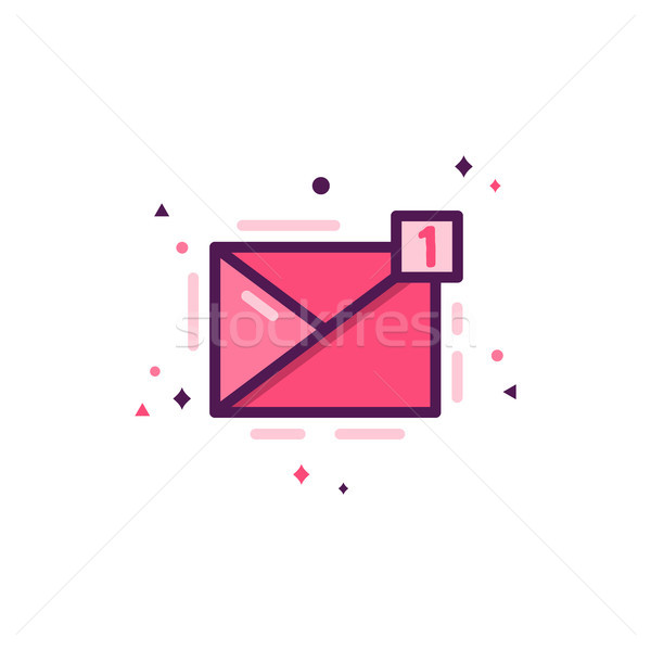 Love message icon, happy valentines day flat concept. Holiday pictogram for brochures, flyers, socia Stock photo © JeksonGraphics