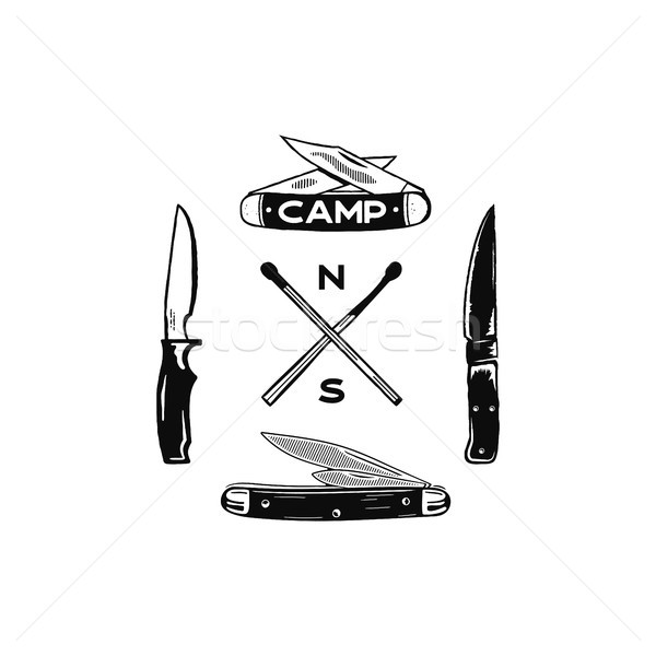 Vintage hand drawn camping adventure icons. Hiking shapes - matches and knifes. Retro monochrome des Stock photo © JeksonGraphics