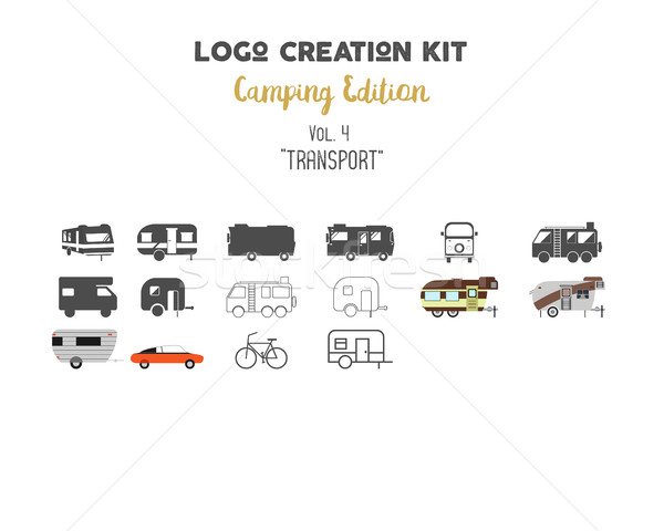 Logo creation kit bundle. Camping Edition set. Transport for travel vector shapes and elements - rv. Stock photo © JeksonGraphics