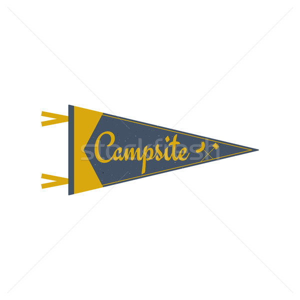 Adventure pennant. Campsite Pennant. Explorer flag design. Vintage camping template. Travel style pe Stock photo © JeksonGraphics