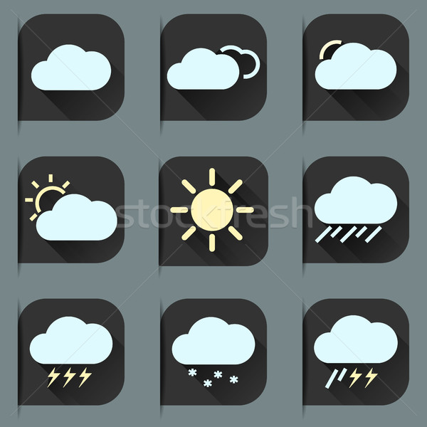 Weather Flat Icons Set Stock photo © JeksonGraphics