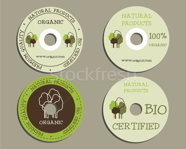 Organic CD, DVD templates. sign, icon. Compact, disc, symbol. For natural shop products and other bi Stock photo © JeksonGraphics