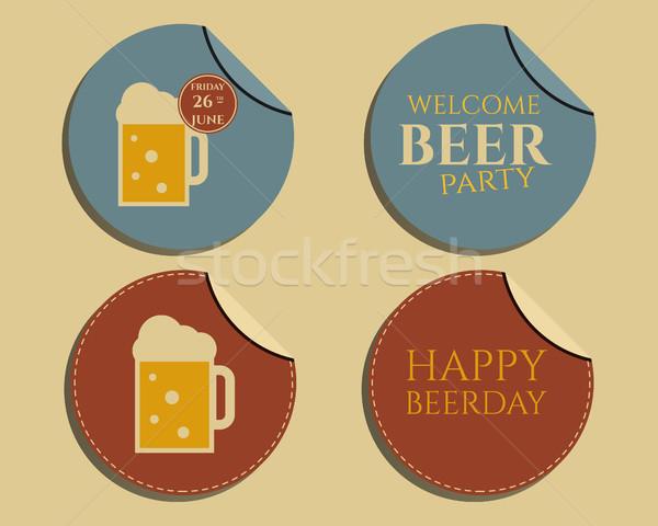 пива вечеринка жетоны Этикетки приглашения шаблон Сток-фото © JeksonGraphics