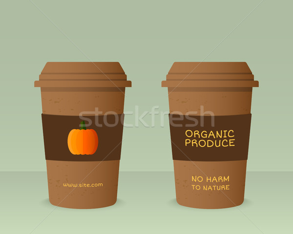 Stock photo: Farm Fresh cup template with pumpkin. Stylish Mock up design with shadow. Best for natural shop, org