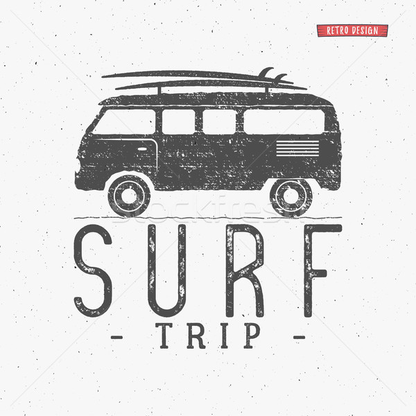 Surf trip concept Vector Summer surfing retro badge. Beach surfer emblem , rv outdoors banner, vinta Stock photo © JeksonGraphics