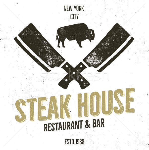 Steak maison vintage étiquette typographie Photo stock © JeksonGraphics
